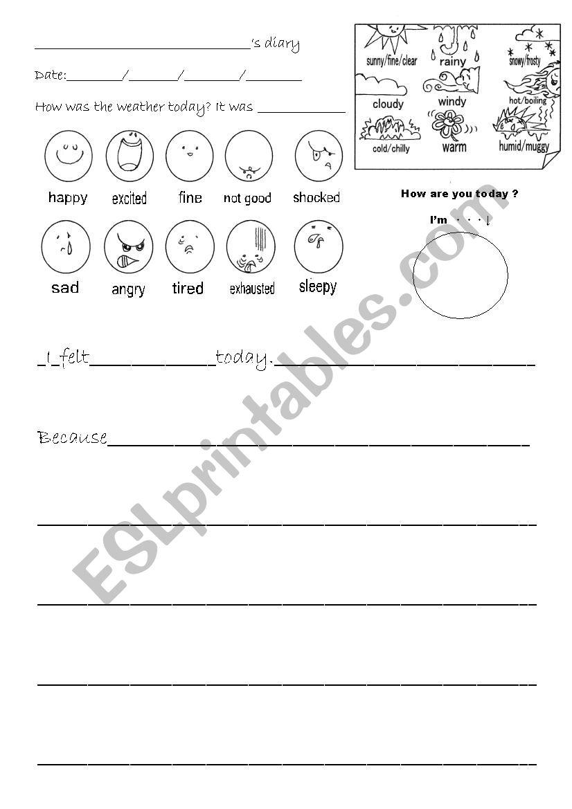 Kids diary worksheet worksheet