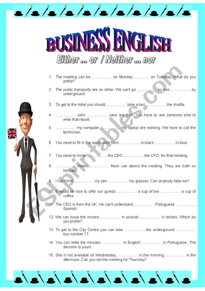 Business English 2 Eitheror Neitherr Esl Worksheet By Plemos