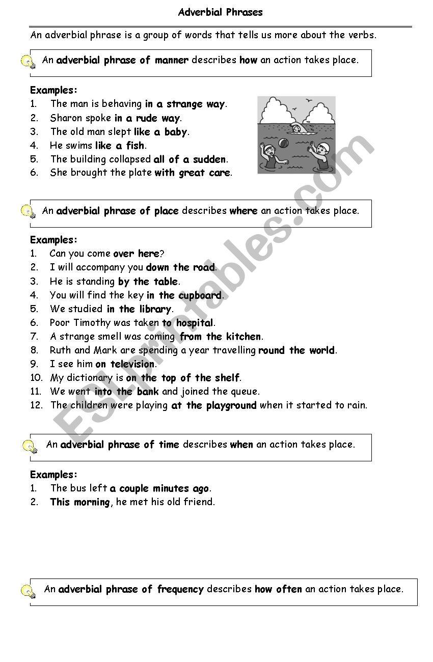 Adverbial Phrases   ESL worksheet by riverz