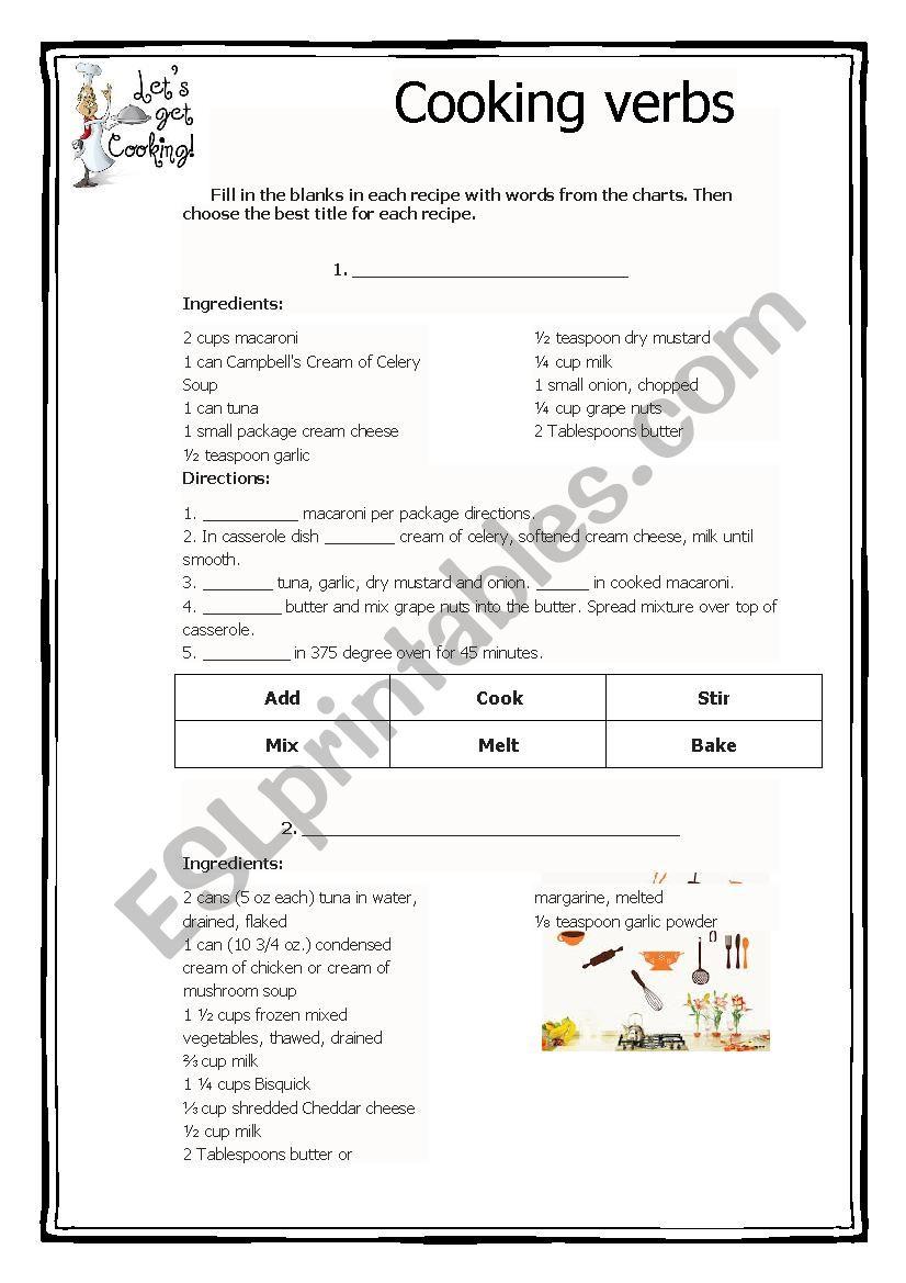 Verbs used when cooking 2 worksheet