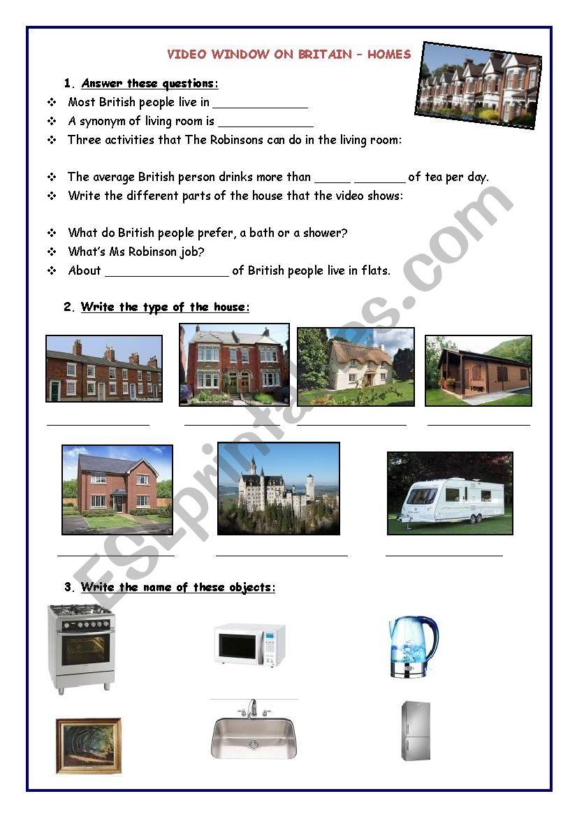 Homes in Britain (video) worksheet