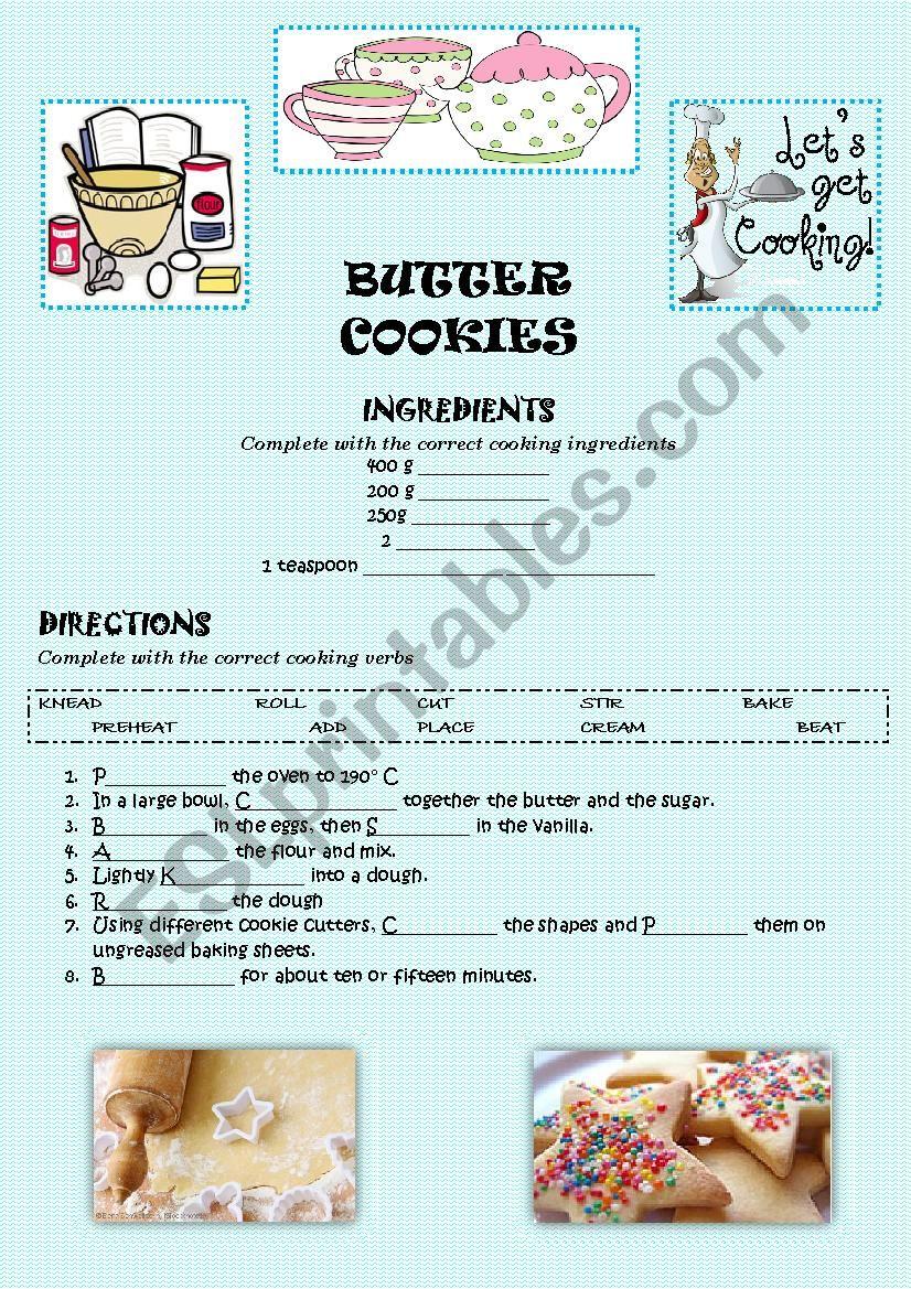 BUTTER COOKIES (KEY) worksheet