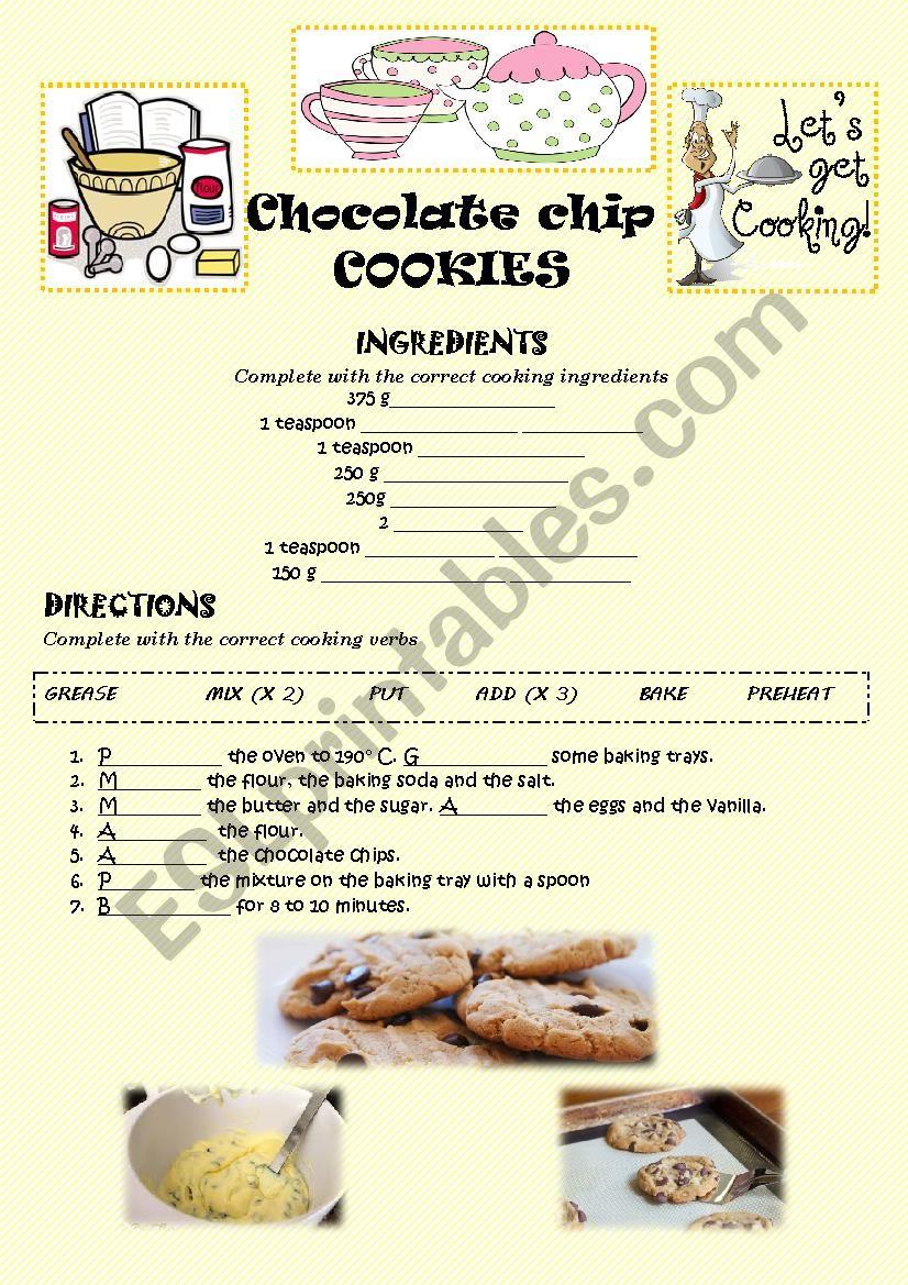 CHOCOLATE CHIPS COOKIES (KEY) worksheet