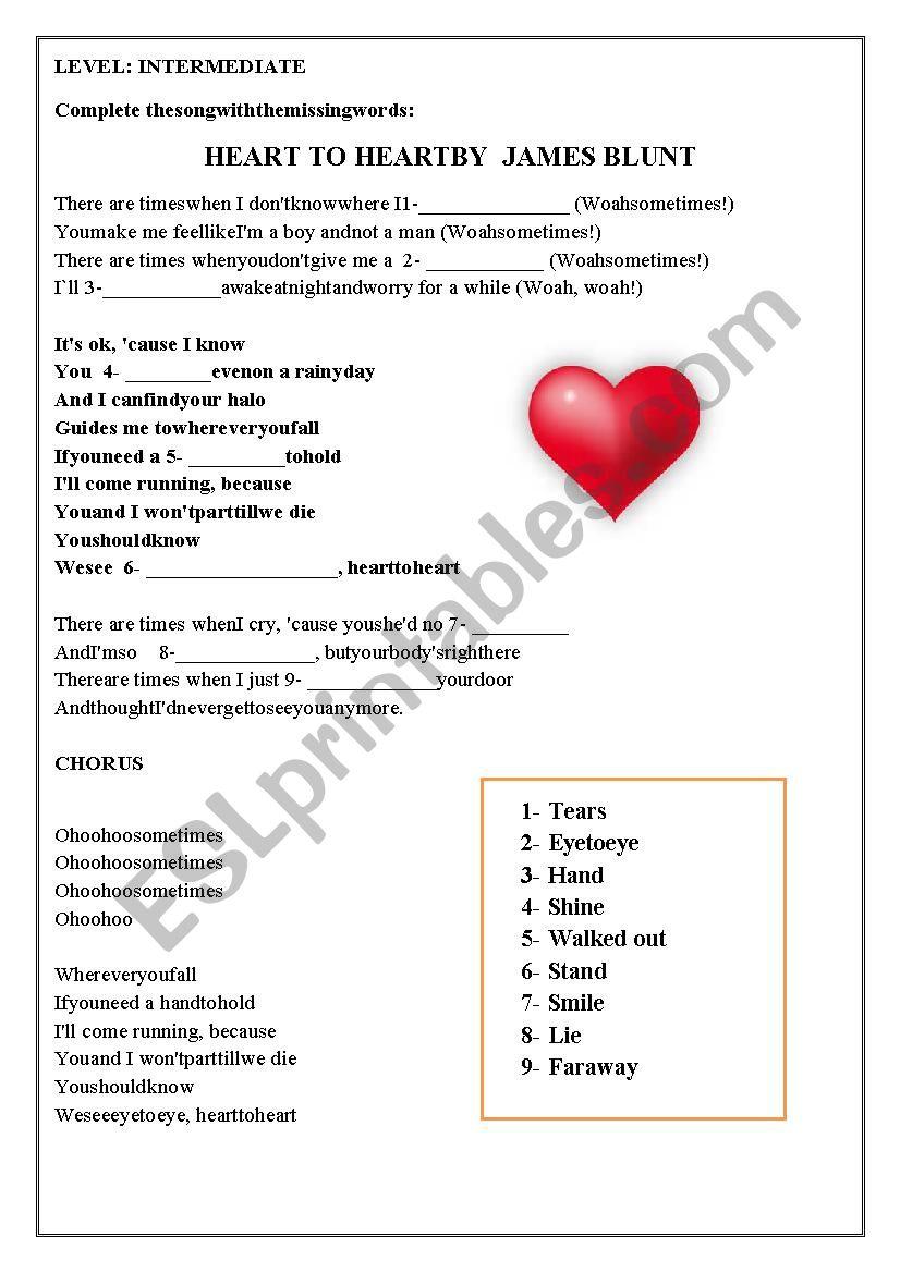 Heart by heart James Blunt worksheet