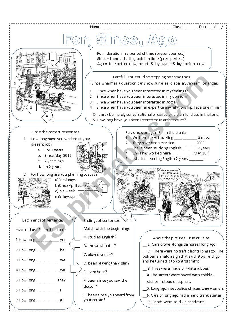 For, Since or Ago worksheet
