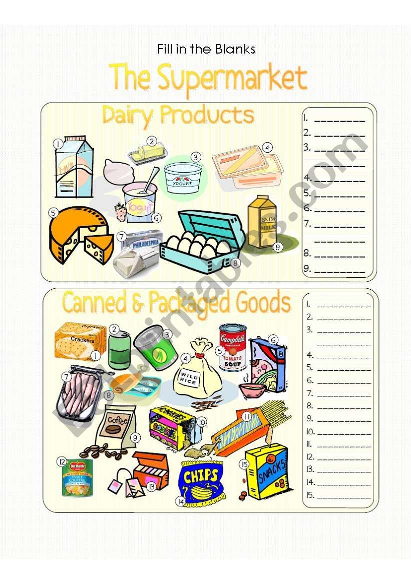 The Supermarket Pic. Dic. - Dairy Products and Canned Goods - Fill in the Blanks