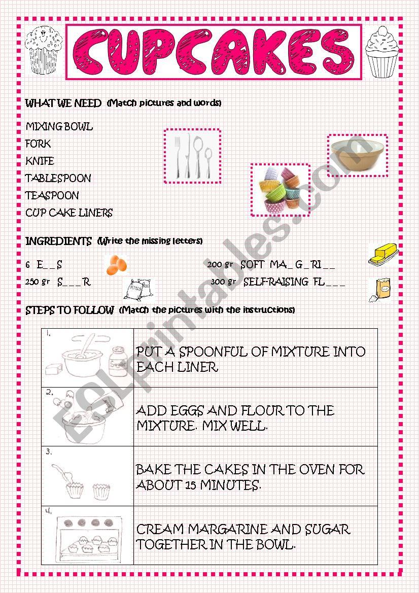 CUPCAKES worksheet