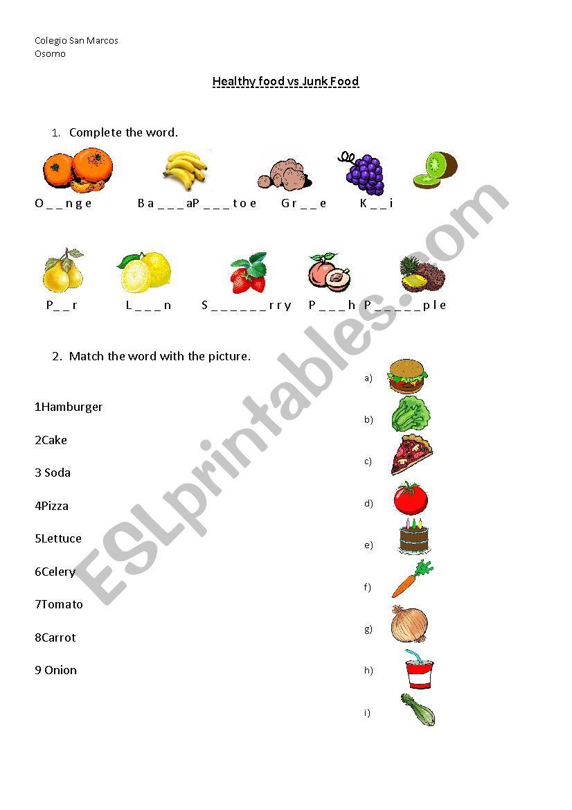 Healthy food vs Junk food worksheet