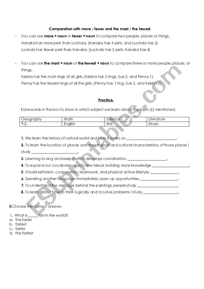 Saga extremidades exagerar  Use of more, fewer, less, most, fewest, and least - ESL worksheet by Kim  Jaen