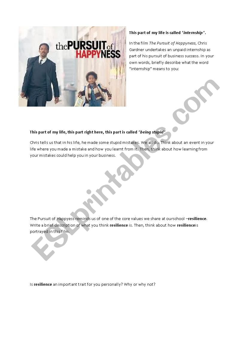 The Pursuit of Happyness - Film Worksheet