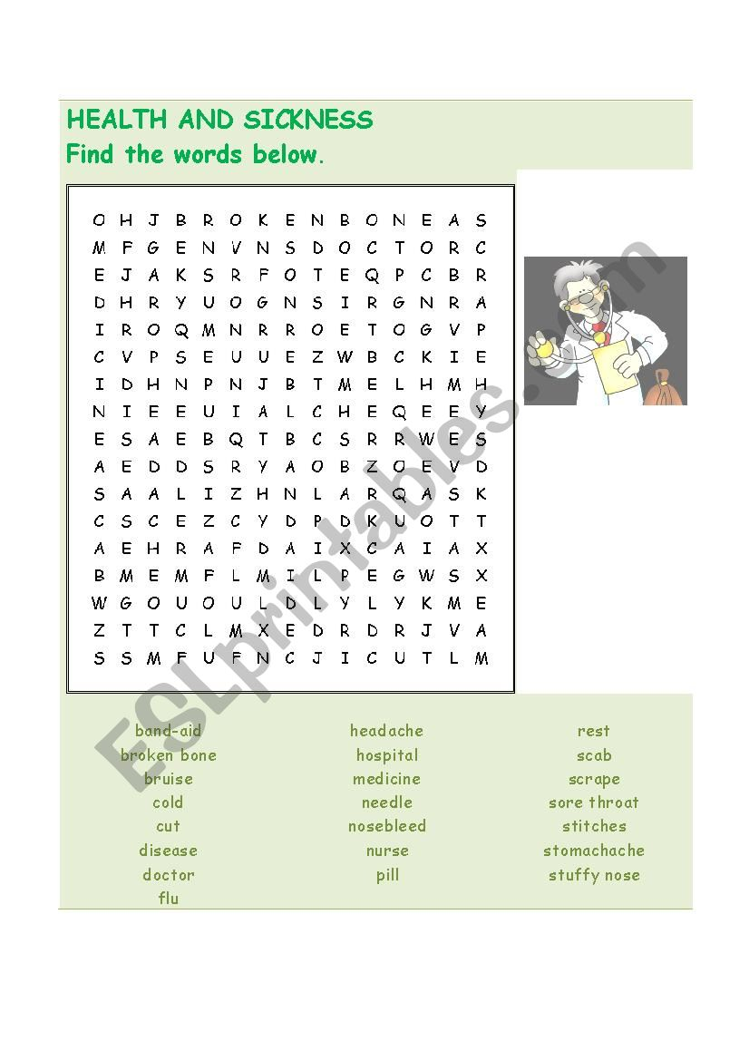 health and sickness worksheet