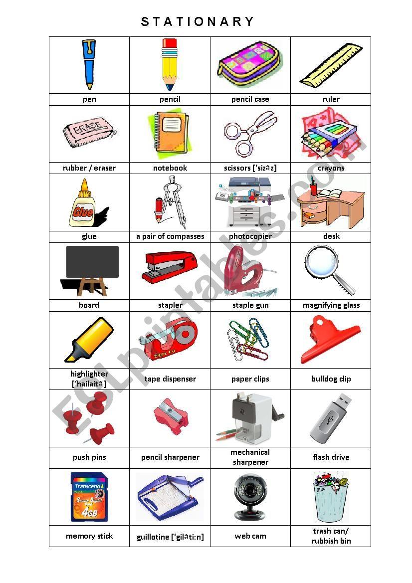 Stationary Pictionary worksheet