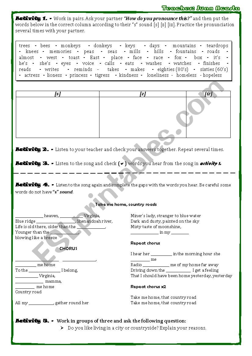 COUNTRY ROADS, TAKE ME HOME SONG WORKSHEET