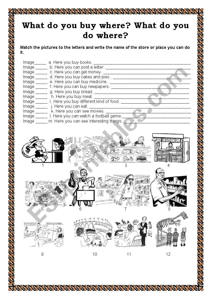 WHAT DO YOU BUY WHERE? worksheet