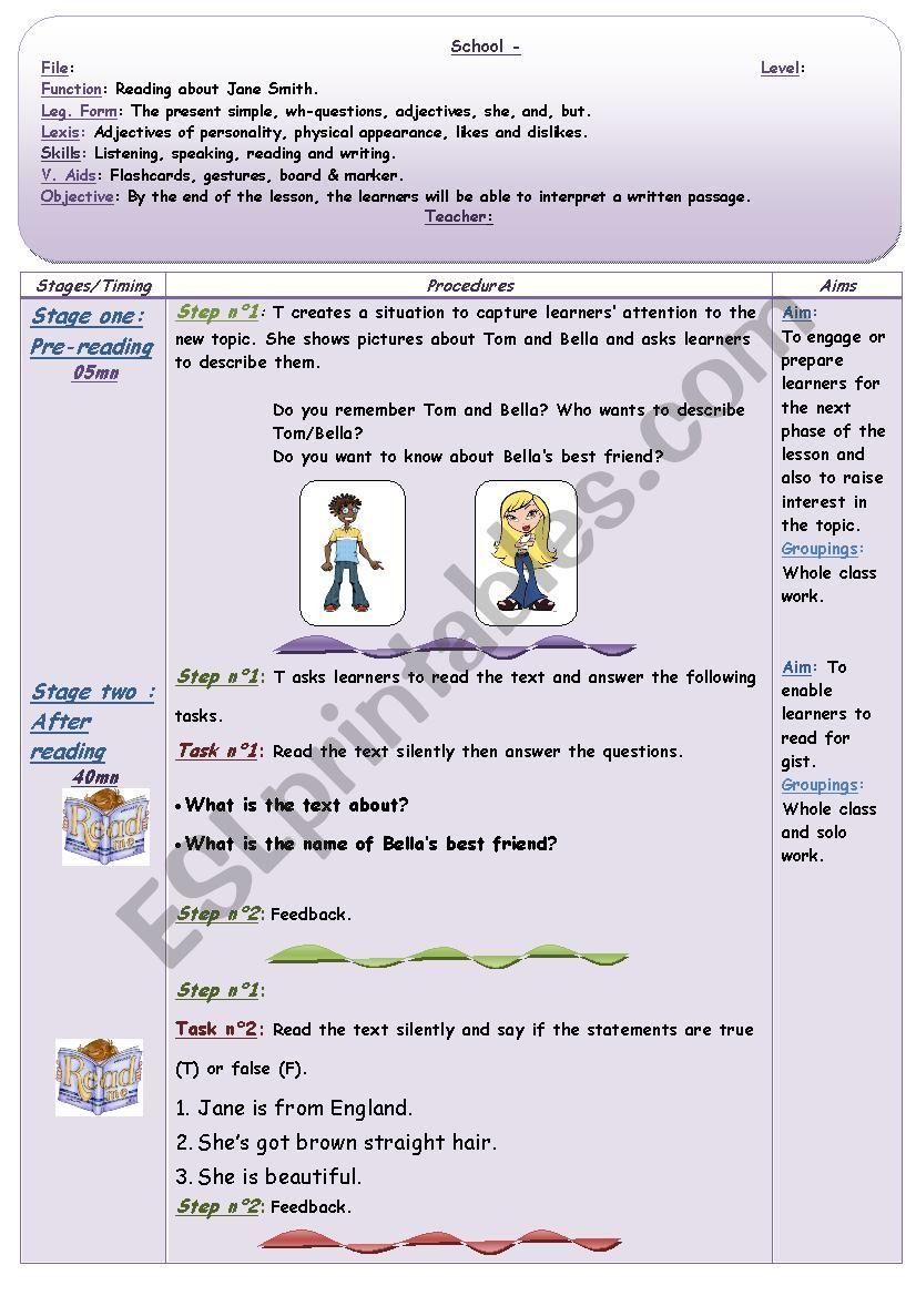 Describing Janes Smith. - Part 1- Teacher´s worksheet.