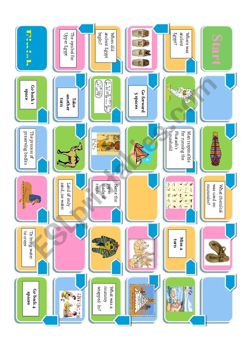Ancient Egypt board game worksheet