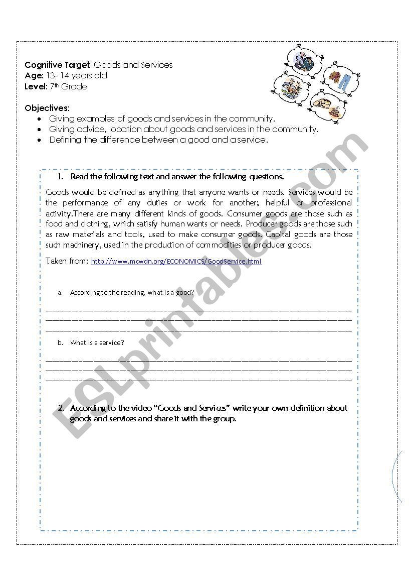 Goods and Services - ESL worksheet by DCBQ