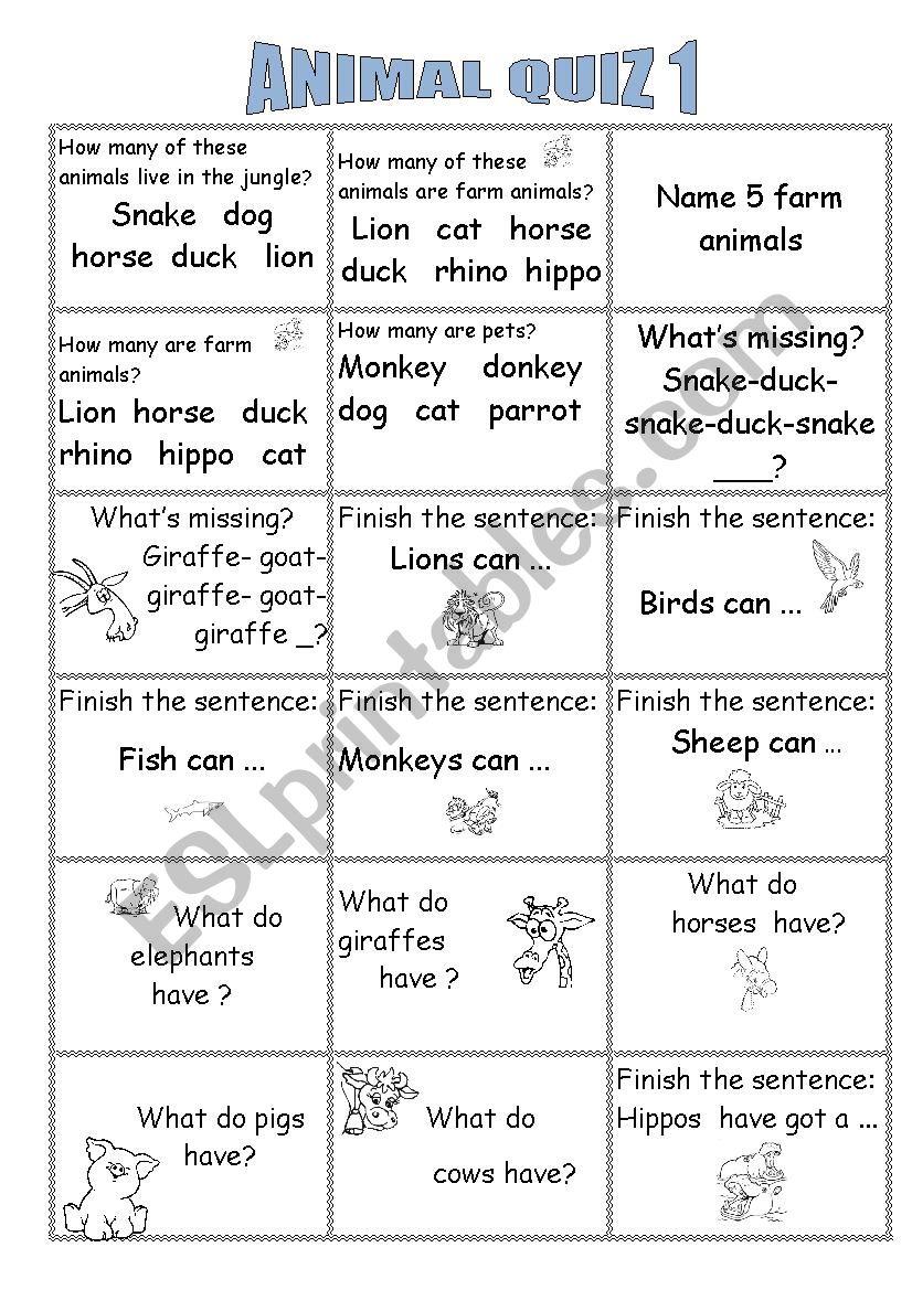 Animal Quiz - ESL worksheet by an43