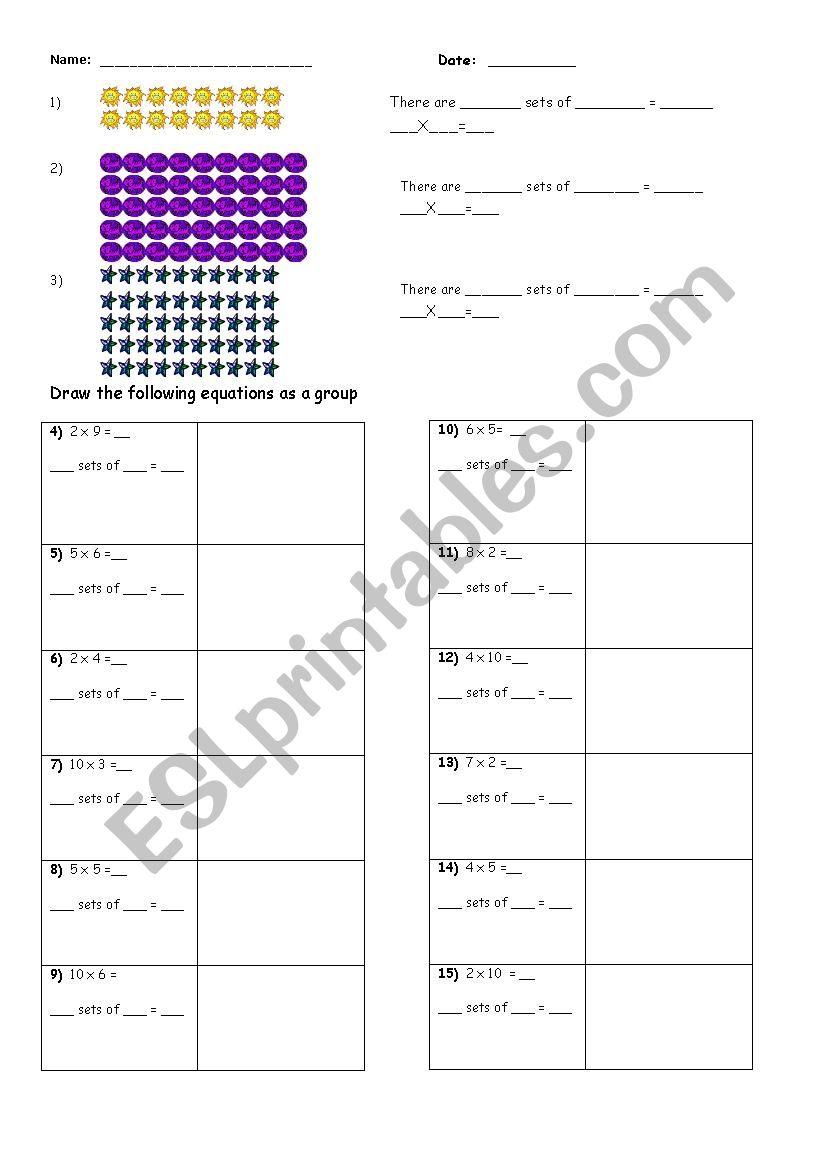 grouping sets to multiply esl worksheet by blissful journey. Black Bedroom Furniture Sets. Home Design Ideas