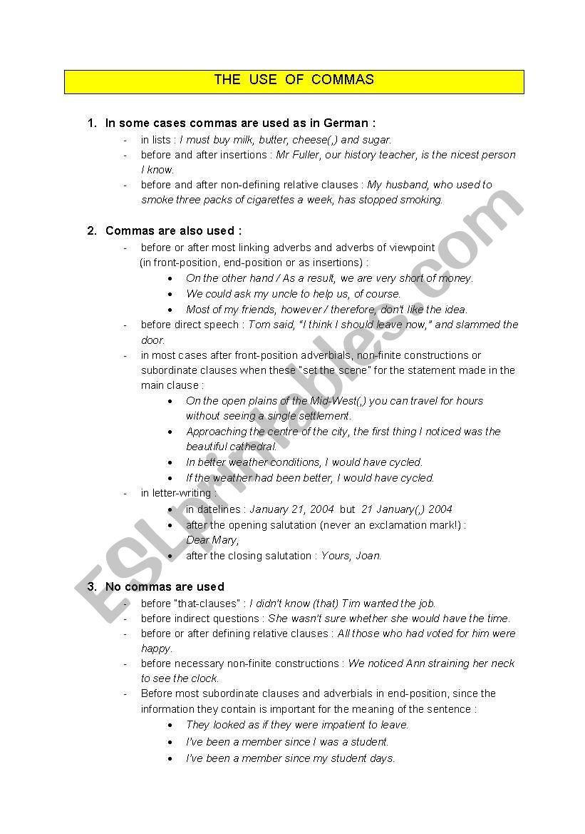 Comma Rules Esl Worksheet By Tinabernau