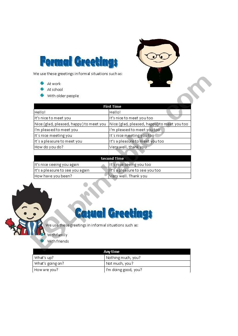 Formal and informal greetings esl worksheet by lilikar formal and informal greetings worksheet m4hsunfo