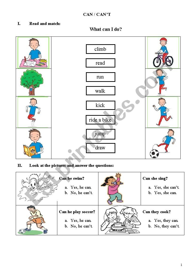Can - Can´t worksheet