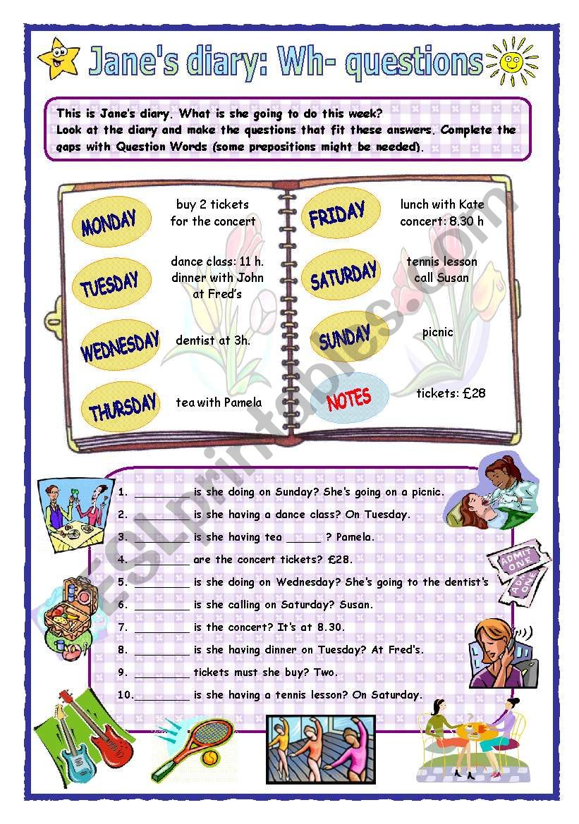 Jane´s diary: Wh- questions worksheet