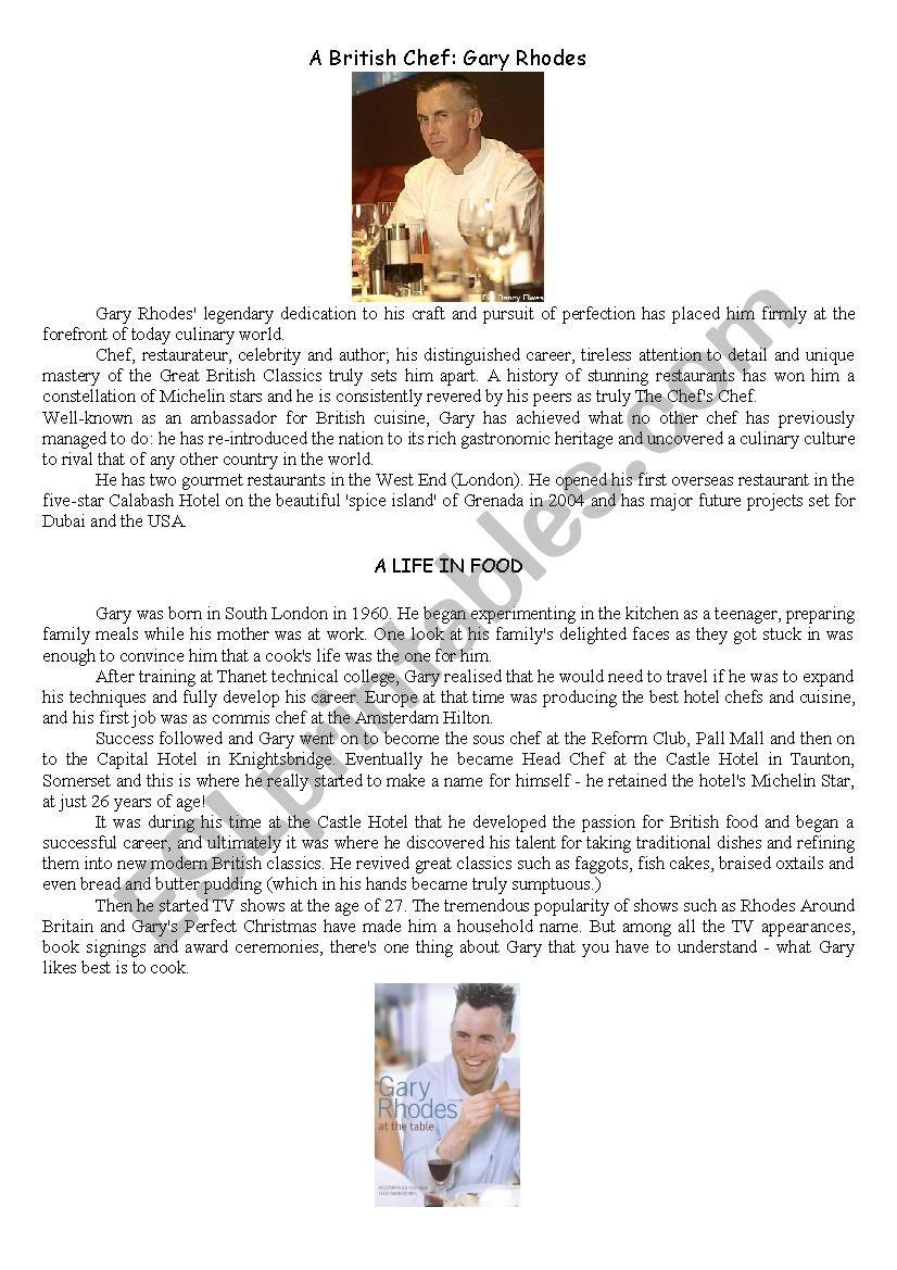 Gary Rhodes: a british Chef worksheet