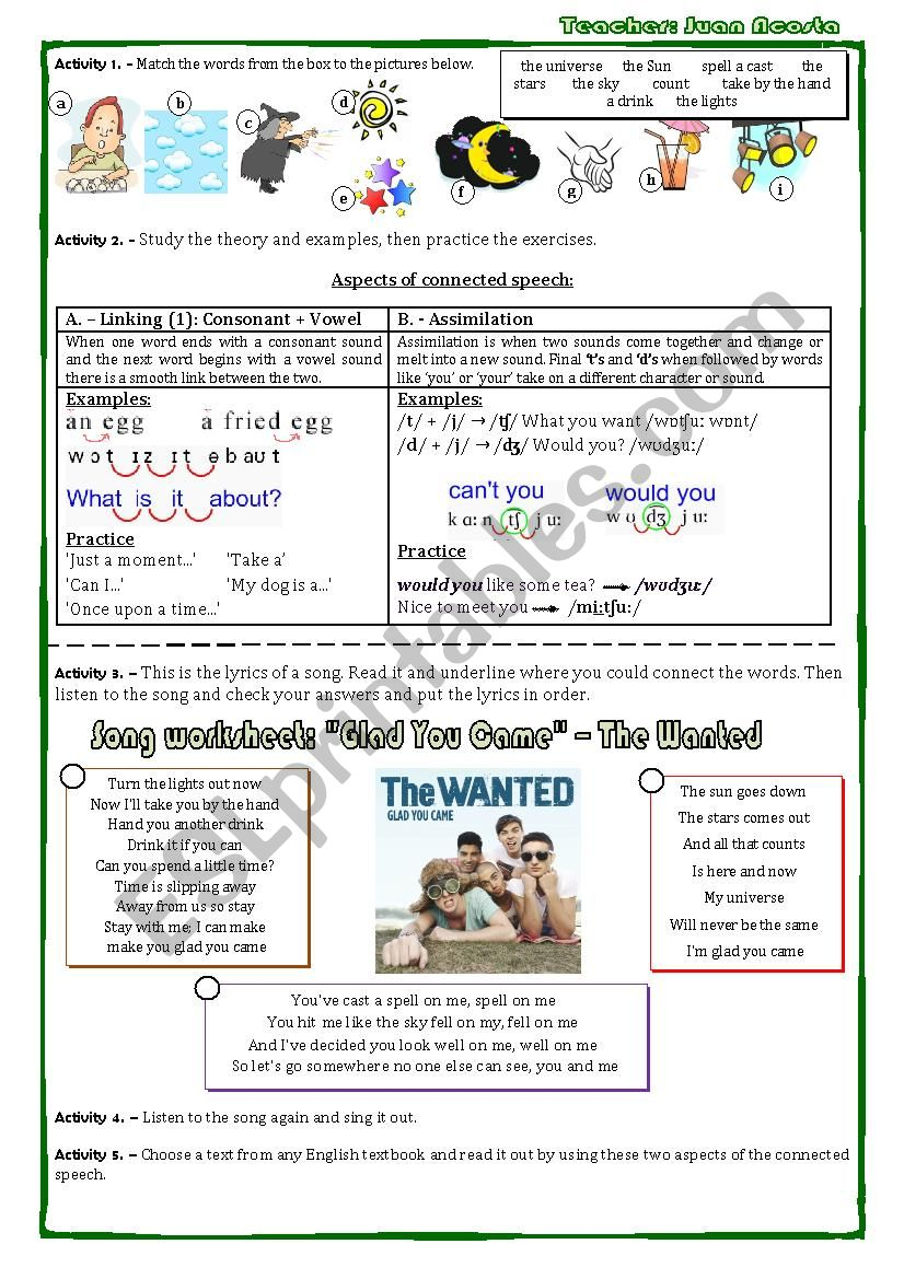 song worksheet GLAD YOU CAME - the wanted