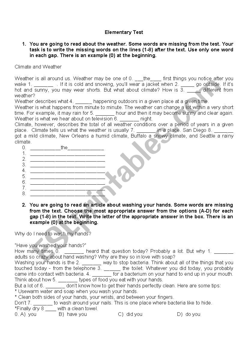 Elementary Test B1 level worksheet