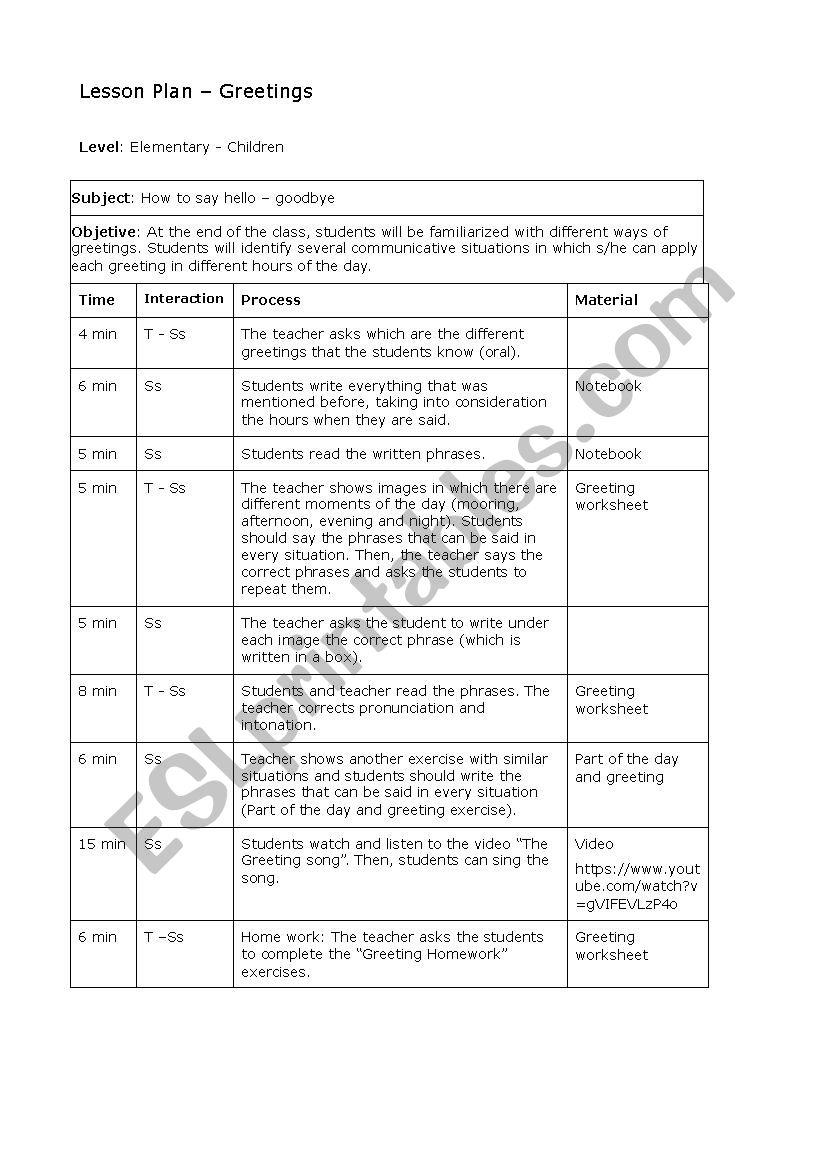 Esl Greetings Worksheet Checks Worksheet