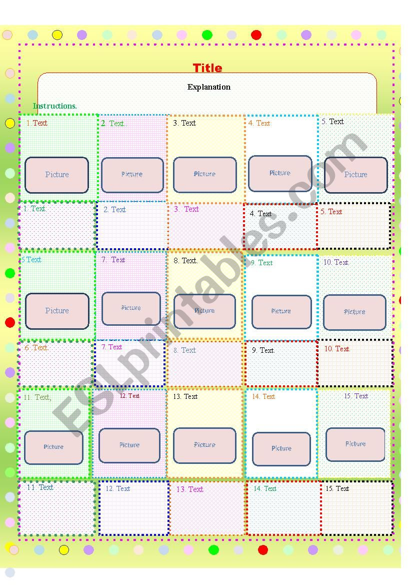 Template with colored boxes worksheet