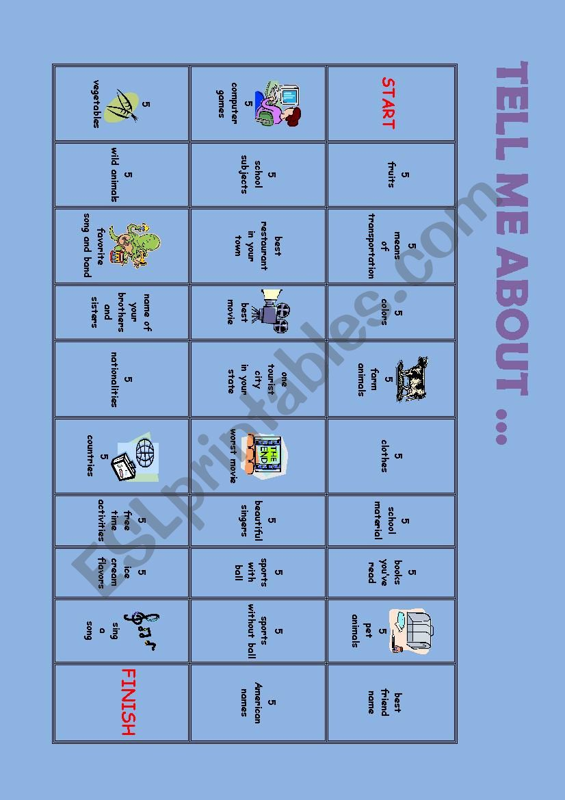 Board Game worksheet