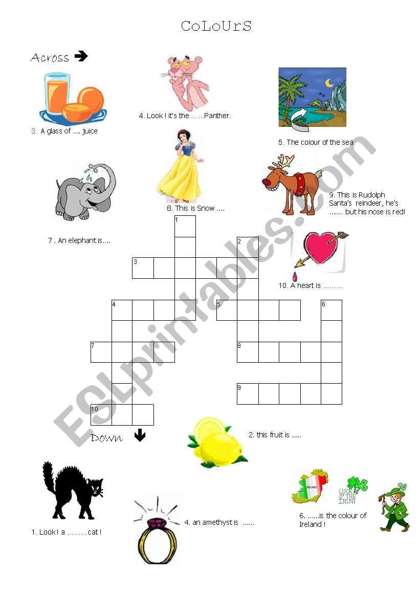 crosswords   colours worksheet