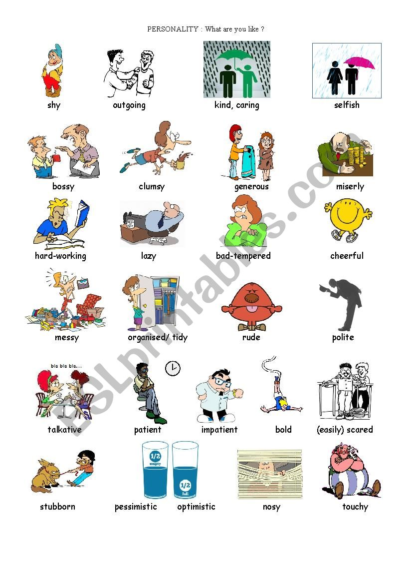 Personality adjectives - ESL worksheet by nathalie891