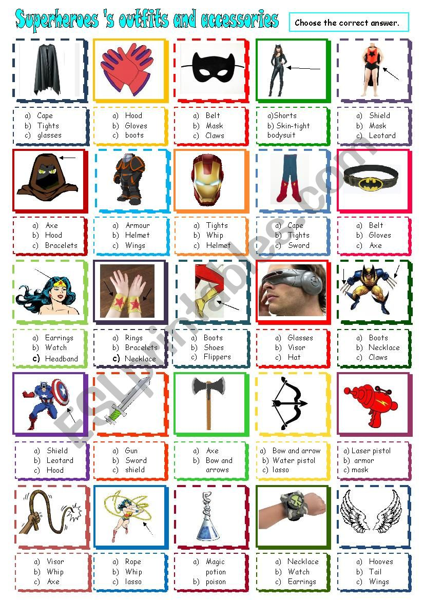Superheroes´s outfits and accessories