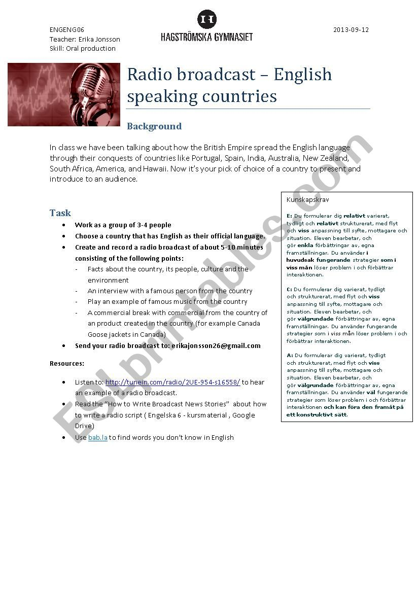 Broadcasting an English Speaking Country - ESL worksheet by