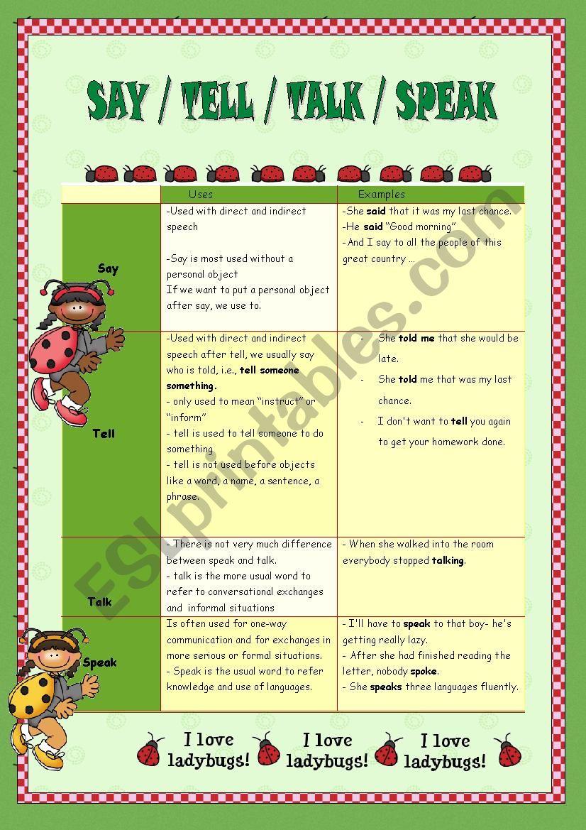 Say tell speak exercise worksheet