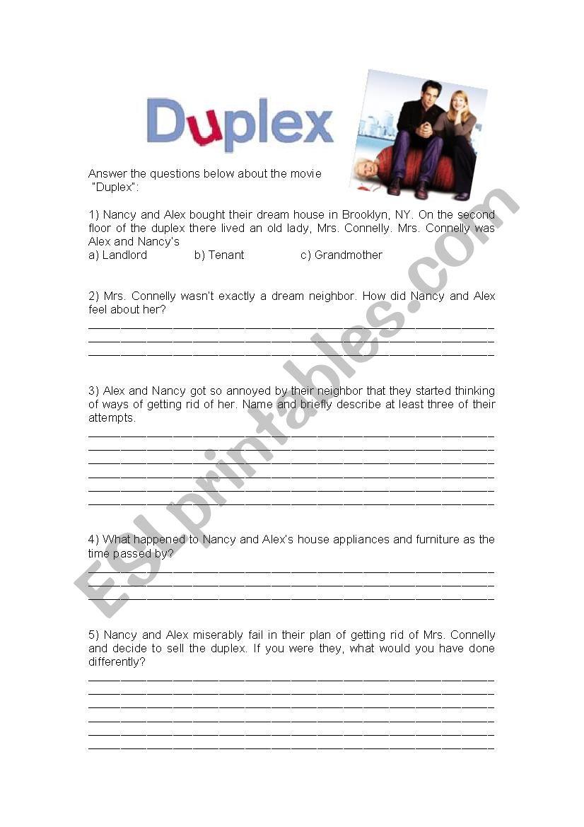 Movie activity (Duplex) worksheet