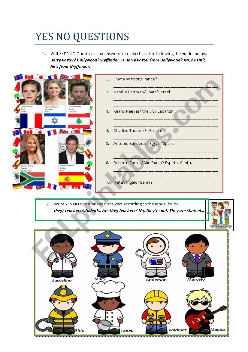 Yes No Questions and Answers worksheet