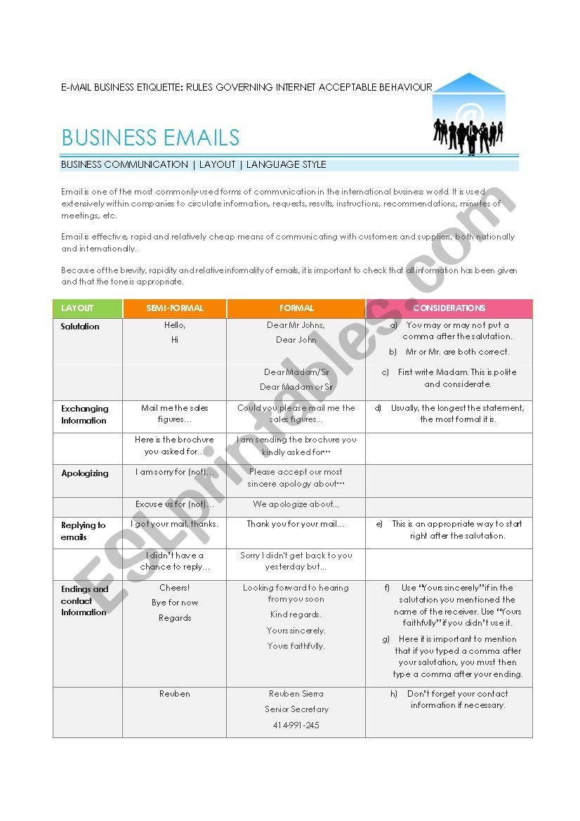 Email Etiquette and Practice worksheet