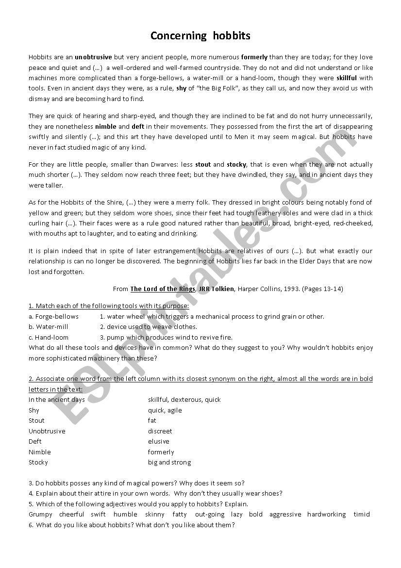 Concerning Hobbits worksheet