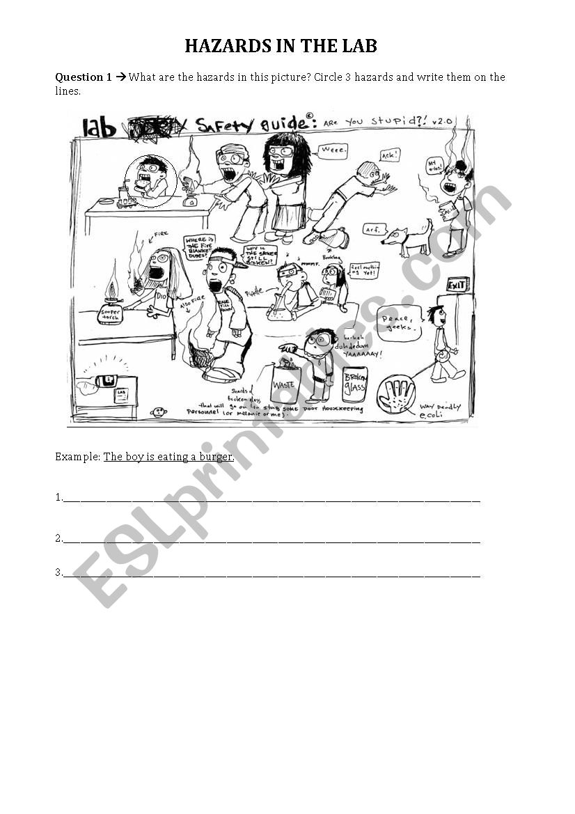 Hazards in the Lab - Science Lab Safety - ESL worksheet by ...