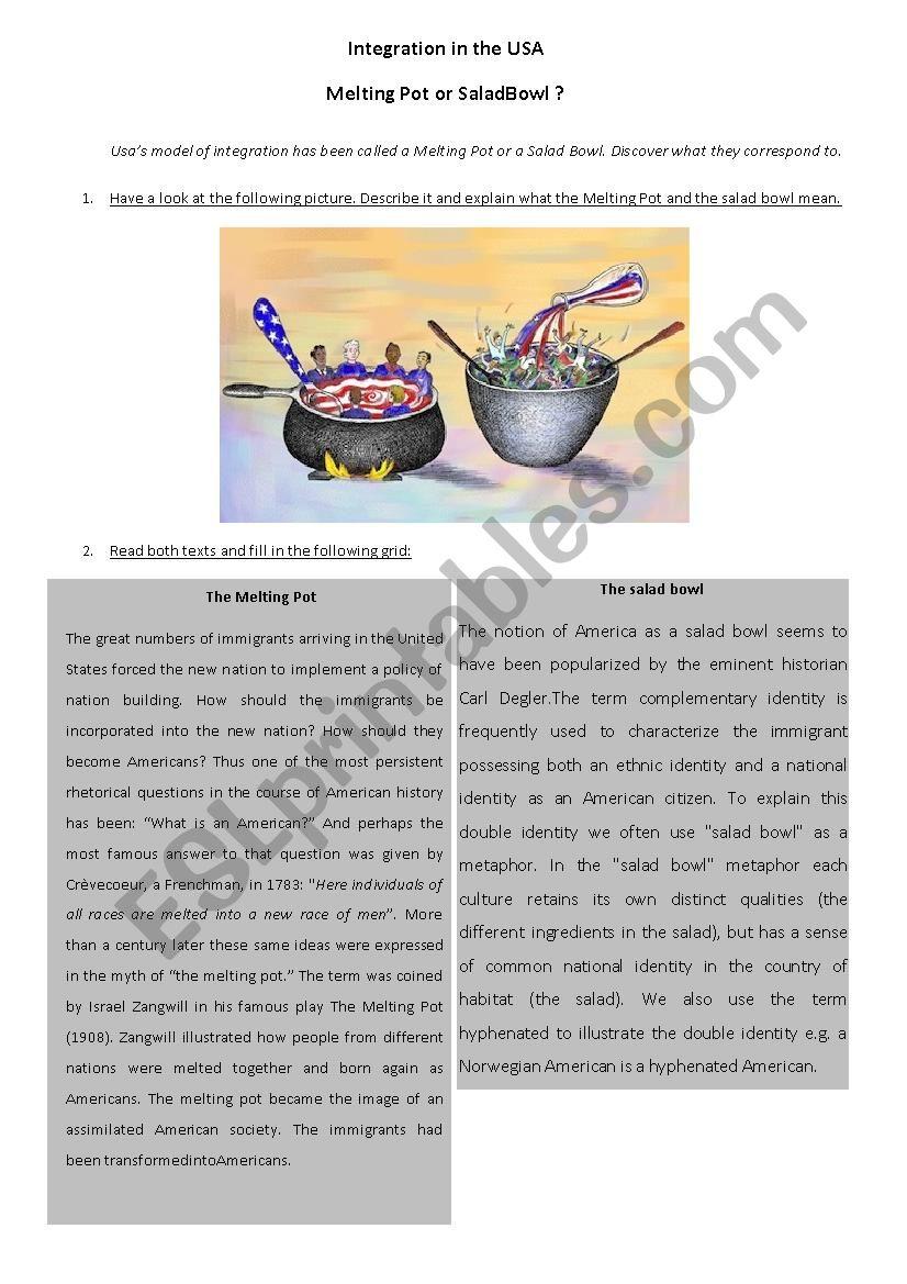 photograph about Melting Pot Coupons Printable named Melting Pot or Salad Bowl - ESL worksheet through Cvil