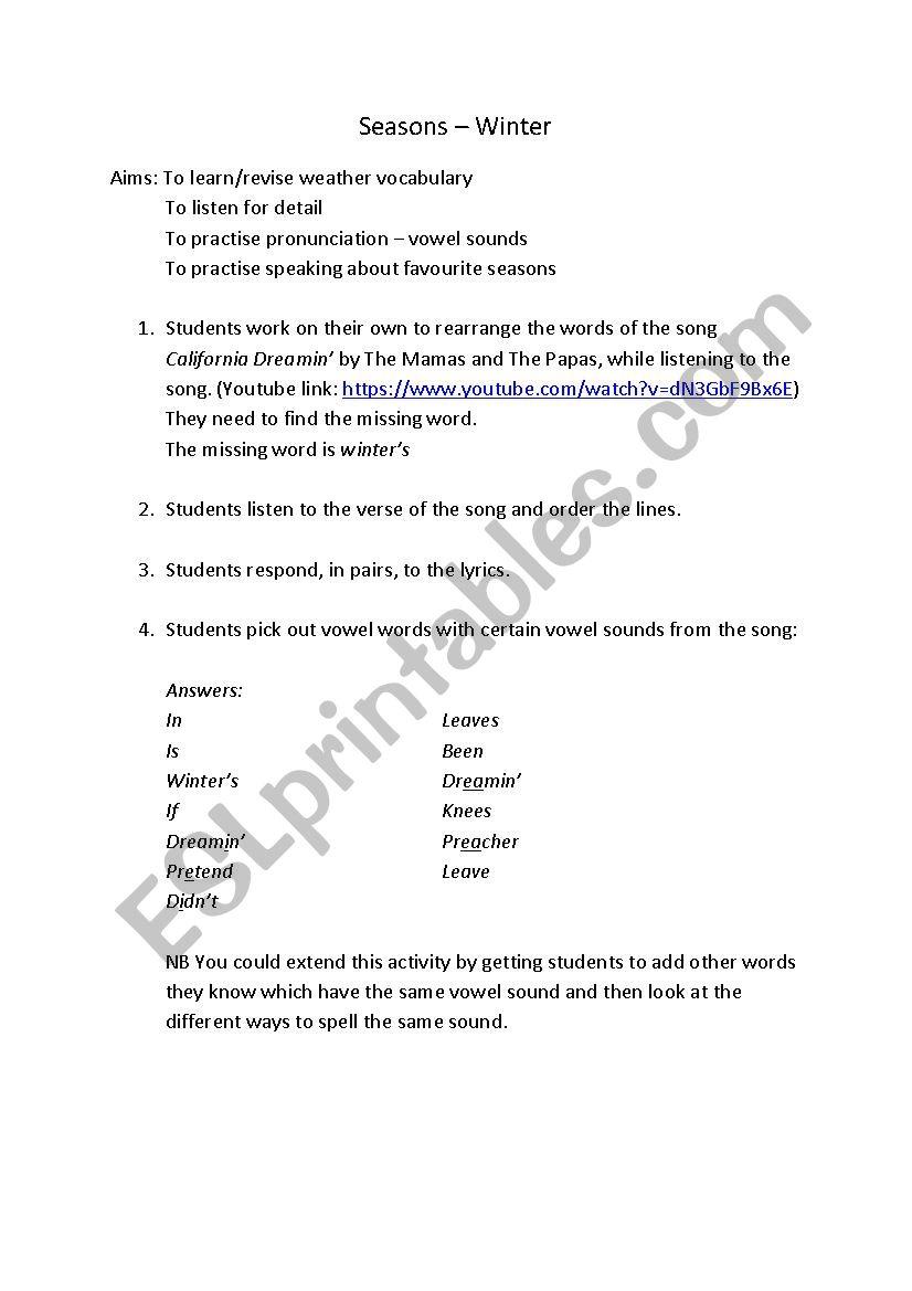 The Seasons - Winter worksheet