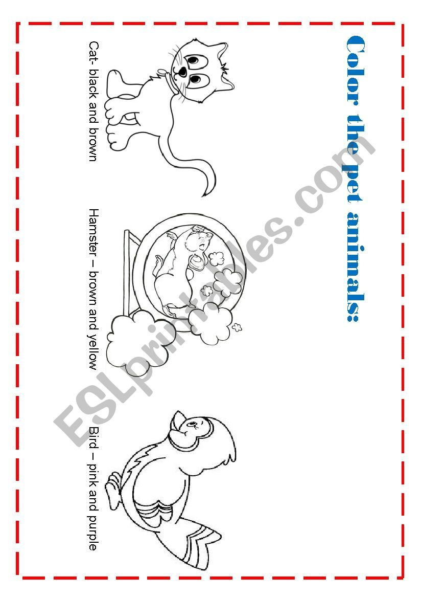 Animals and colors worksheet