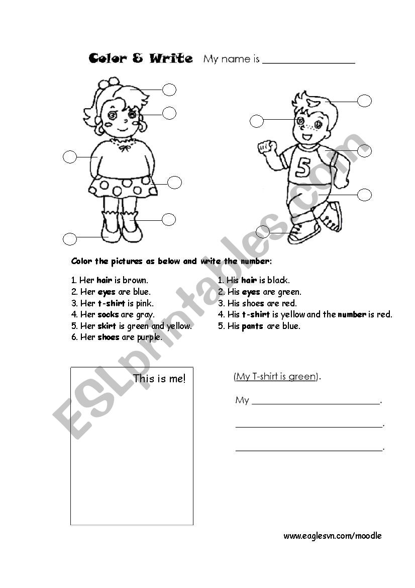 Coloring the clothes worksheet