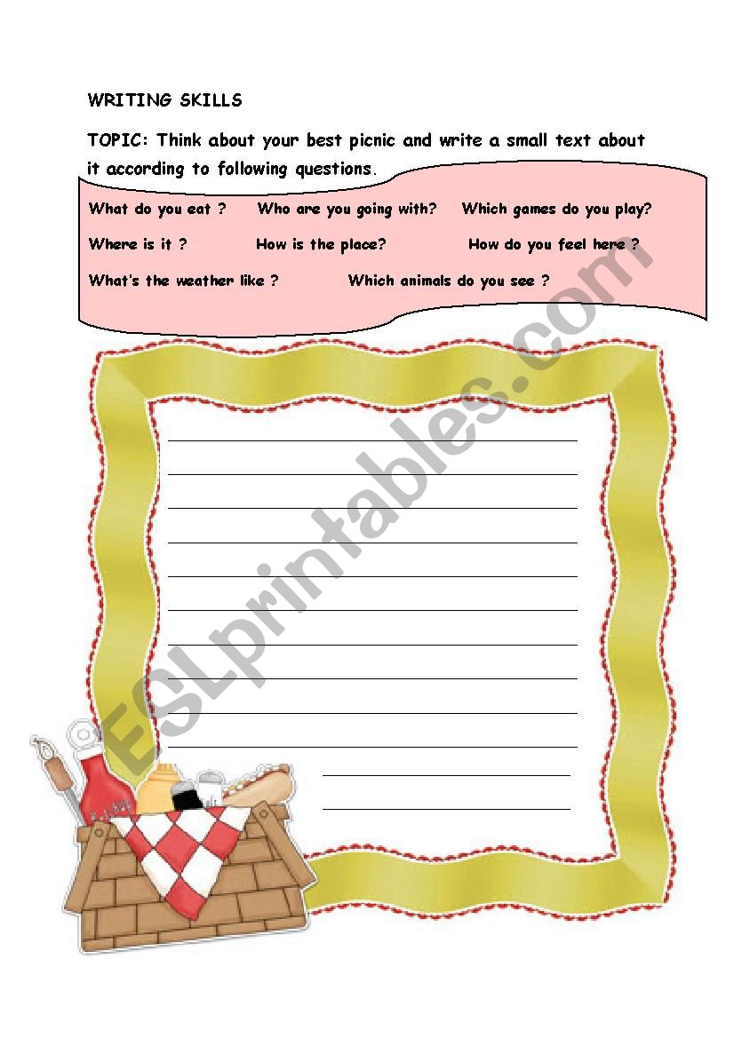 writing about picnic worksheet