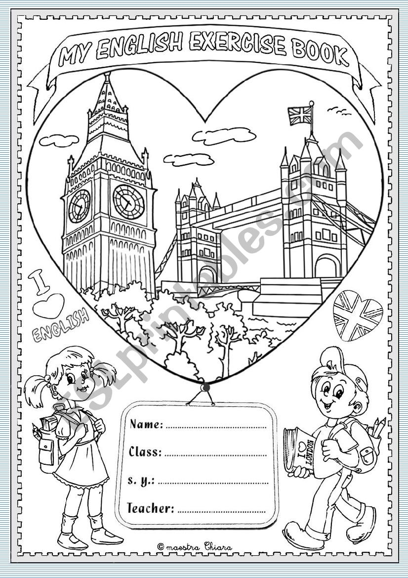 Cover English exercise book worksheet