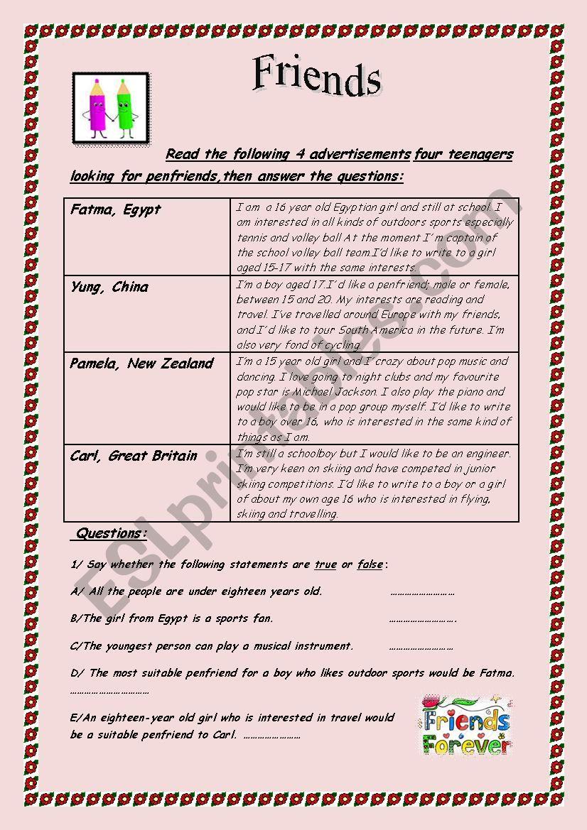 Penfriends worksheet